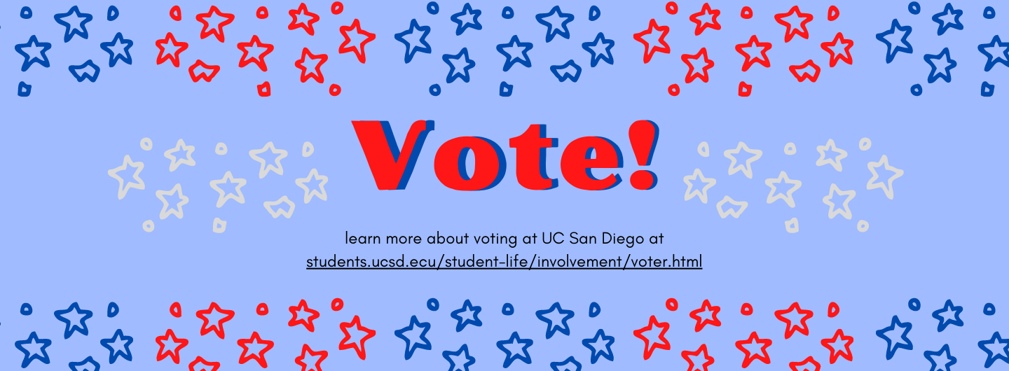 Banner containing red, white, and blue stars surrounding Voting information - Learn more about Voting at UC San Diego
