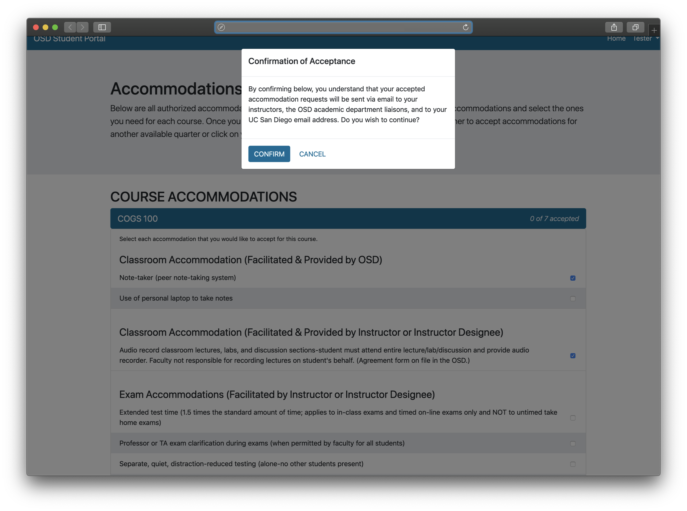 Screenshot of the dialogue box for confirming accommodations after the first day of instruction.