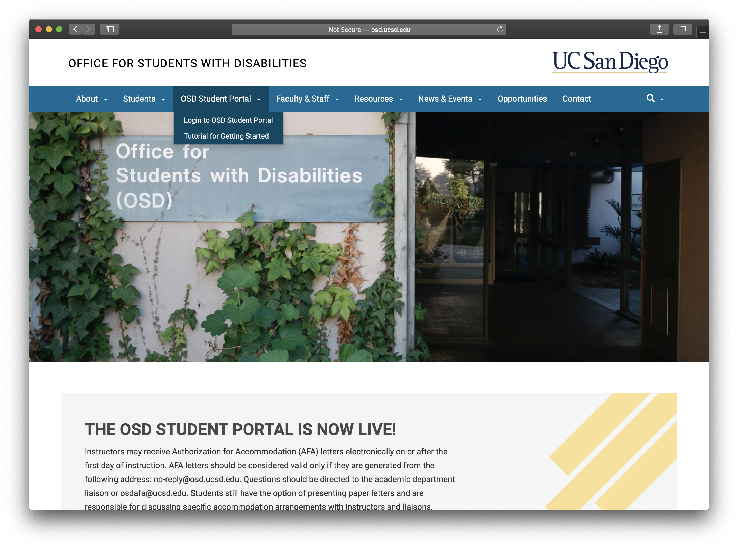 Screenshot of the dropdown tab for the OSD Student Portal.